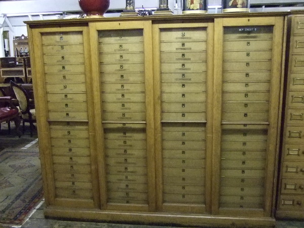 Late Victorian Oak and Ash Map Cabinet