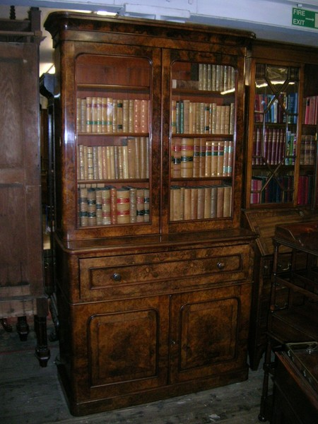 Mid Victorian Burr Walnut Secretaire Bookcase