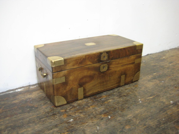 Neat Sized Victorian Camphor Wood Travelling Trunk