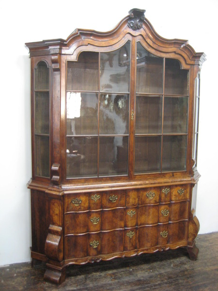 Dutch Walnut Serpentine Bookcase
