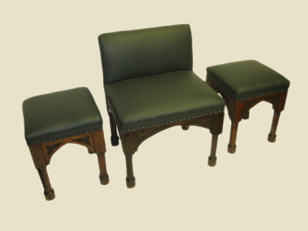 Set of Pugin Style 2 Stools and Chair