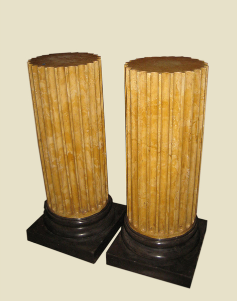 Pair of Fluted Yellow Scagliola Pedestals