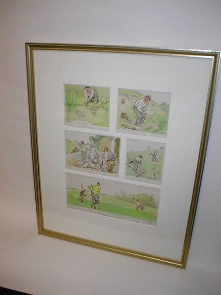 Framed Colour Golfing Sketch by Frank Reynolds