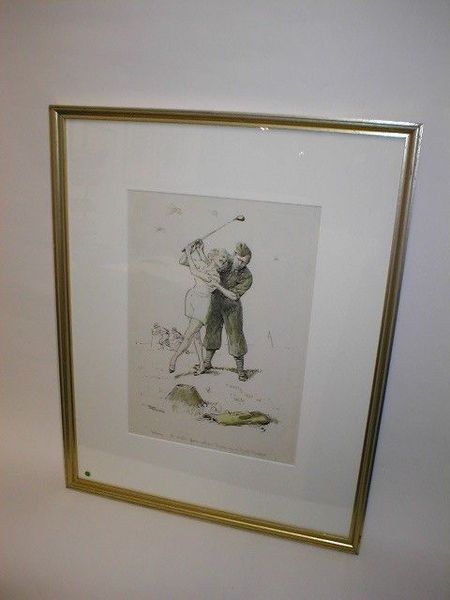 Framed Golfing Watercolour by Frank Reynolds
