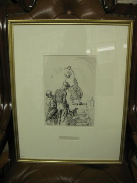 Framed Golfing Sketch by Frank Reynolds