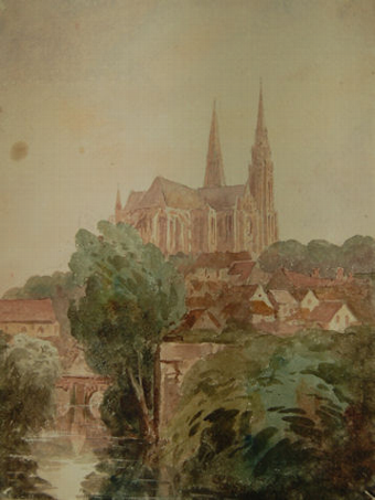 Antique Chartres Cathedral from the River Eure