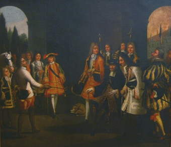 Antique Czar Peter the Great's audience with Louis XIV, Versailles in 1717