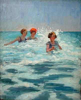 Antique Girls Playing in the Surf