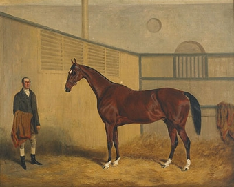 Antique Midshipman and his groom in a stall