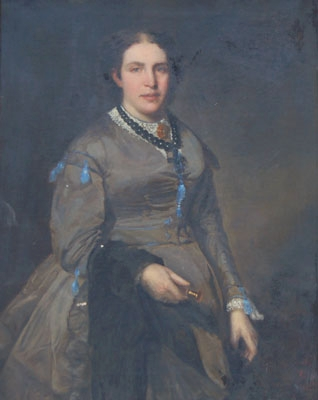 Antique Portrait of a Lady with a Black Shawl
