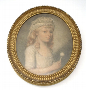 Antique Portrait of a young child holding a Rattle