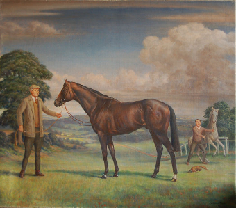 Antique Portrait of Dancing Brave 1983-1999 and Guy Harwood the trainer