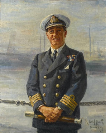Antique PORTRAIT OF REAR ADMIRAL JAMES SACHEVERELL CONSTABLE SALMOND, RN (1882-1958)