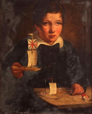 Antique Portrait of Robert Fiske making model sailing boats