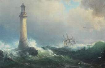 Antique Rough seas with Eddystone lighthouse and ship in the distance
