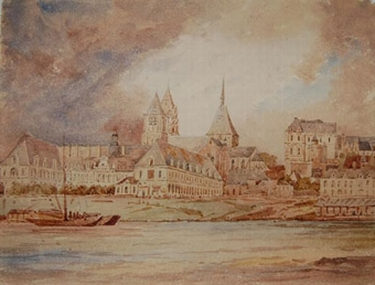 Antique The Chateau de Blois and St Nicholas Cathedral, Blois from the river Loire