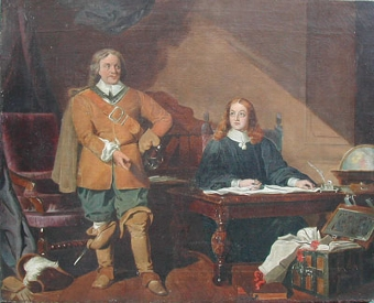 Antique The Protector dictating the letter to John Milton, 1655