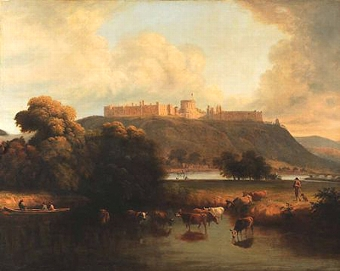 Antique Windsor Castle with a heardsman and his cattle watering at the Thames and figure