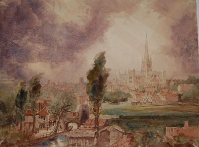 Antique Norwich Cathedral from the  Castle, Norwhich Norfolk