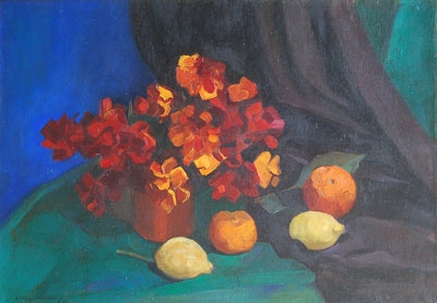 Antique Still life of geraniums,  oranges and lemons on a cloth drapped  table