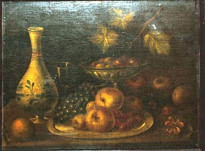 Antique Still life with fruit and a vase on a ledge