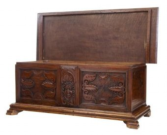 Antique 19TH CENTURY CARVED WALNUT COFFER CHEST