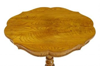 Antique 19TH CENTURY SWEDISH ELM SHAPED OCCASIONAL TABLE