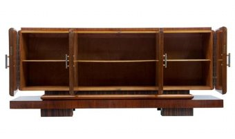 Antique 1920's ART DECO WALNUT AND BIRCH LARGE SIDEBOARD