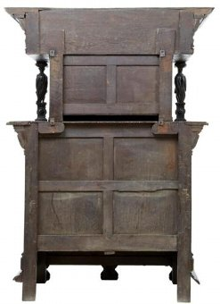 Antique 19TH CENTURY CARVED FLEMISH OAK COURT CUPBOARD BUFFET