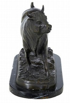 Antique BRONZE BULL STATUE ON MARBLE BASE