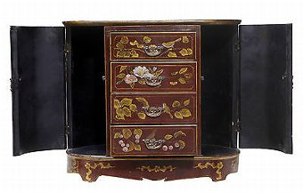 Antique 20TH CENTURY ART NOUVEAU INSPIRED LACQUERED HAND PAINTED SMALL CABINET