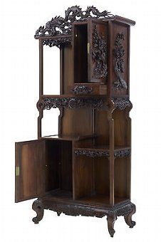 Antique 19TH CENTURY CARVED ORIENTAL HARDWOOD CHINESE DISPLAY CABINET