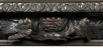 Antique 19TH CENTURY CARVED OAK MIRRORED SIDEBOARD DRESSER BAR