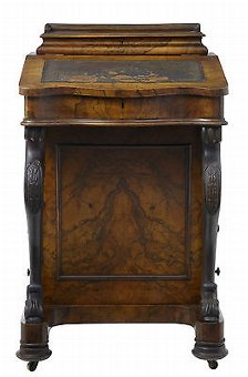 Antique 19TH CENTURY VICTORIAN CARVED WALNUT DAVENPORT WRITING DESK
