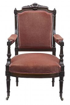 Antique 19TH CENTURY FRENCH CARVED ROSEWOOD ARMCHAIR