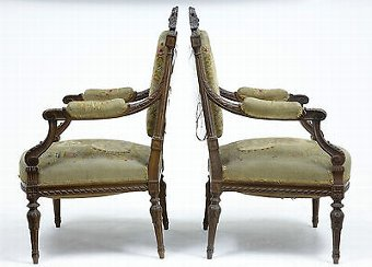 Antique 19TH CENTURY FRENCH CARVED WALNUT TAPESTRY ARMCHAIRS