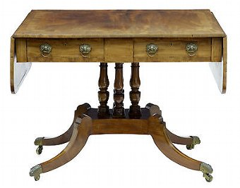 Antique 19TH CENTURY WILLIAM IV INLAID MAHOGANY SOFA TABLE