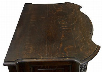 Antique 19TH CENTURY FRENCH SERPENTINE CARVED OAK CUPBOARD
