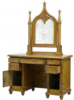 Antique 19TH CENTURY SWEDISH BIRCH GOTHIC VANITY DRESSING TABLE AND MIRROR