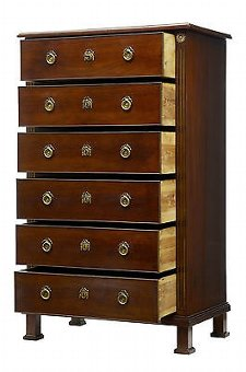 Antique 19TH CENTURY DIRECTOIRE INFLUENCED MAHOGANY TALL CHEST OF DRAWERS