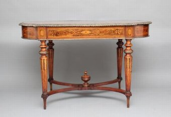 Antique 19TH CENTURY FRENCH INLAID WALNUT CENTER TABLE