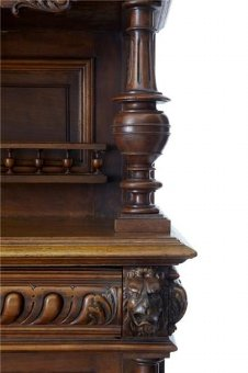 Antique 19TH CENTURY FLEMISH CARVED WALNUT BUFFET CABINET