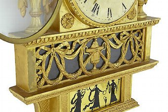 Antique 19TH CENTURY SWEDISH GILT AND EGLOMISE ORNATE WALL CLOCK