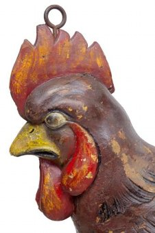 Antique 19TH CENTURY CARVED ADVERTISING SIGN OF A COCKEREL ROOSTER