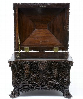 Antique 19TH CENTURY ANTIQUE HEAVILY CARVED WALNUT WINE COOLER