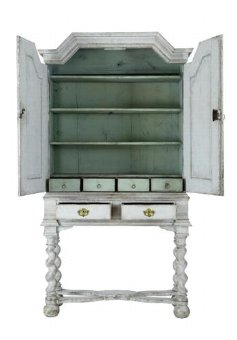 Antique 19TH CENTURY PAINTED SWEDISH CABINET ON STAND