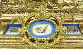 Antique 19TH CENTURY FRENCH GILT MANTLE CLOCK WITH SEVRES PLAQUES