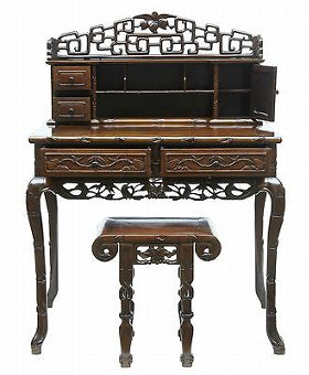 Antique 19TH CENTURY CARVED HONGMU CHINESE DESK AND STOOL