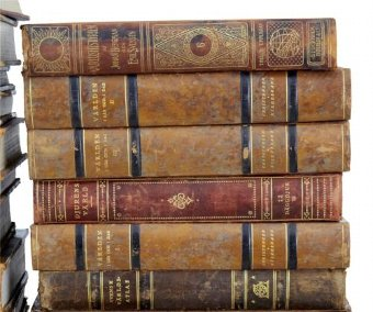 Antique 42 FINE QUALITY LARGE LEATHER BOUND DECORATIVE BOOKS