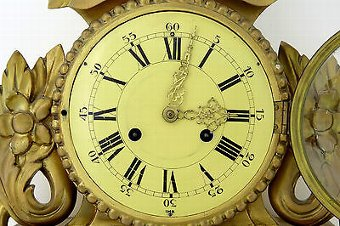 Antique 20TH CENTURY GERMAN GILT CARVED WOOD WALL CLOCK